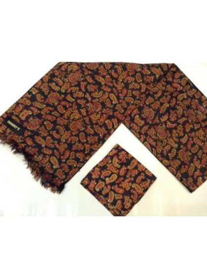 Sherrys Pure Silk POCKET SQUARE Black/Brown Paisley