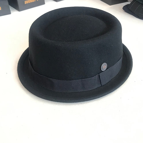 100% Wool SKA Pork Pie Hat - Black