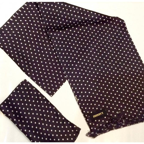 Sherrys Silk Scarf/Pocket Square B/W Polka dot