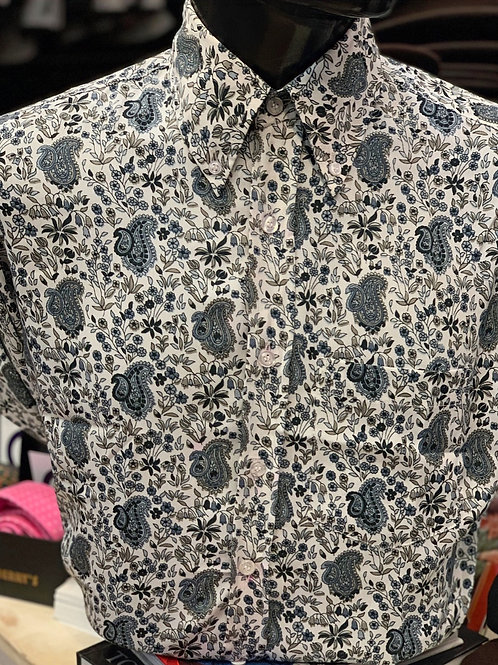 Sherry's Limited Edition Off White, Grey and Navy Paisley Shirt