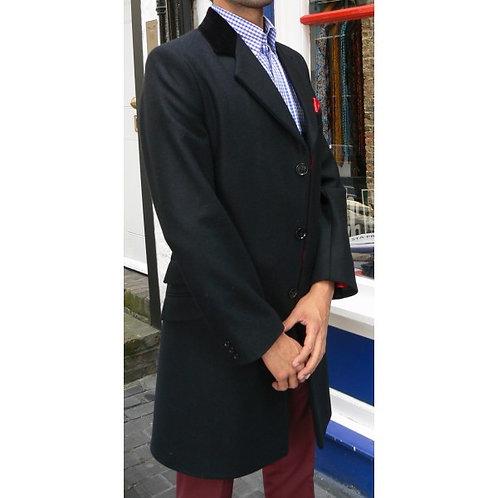 Classic Crombie Style Overcoat Black/Black Velvet Collar