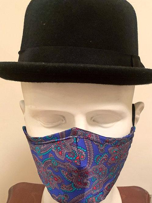 Face Mask : Royal Blue / Red / Green Paisley