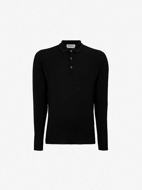 John Smedley 'Dorset' L/S Polo - Black