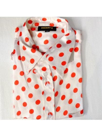 Sherrys Lightweight Shirt l/S White /Red Polka Dot