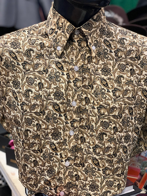 Sherry's Limited Edition Beige, Black and Grey Paisley Shirt