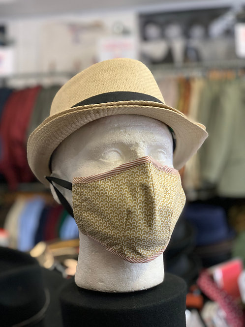Face mask: Sand and ecru with red trim