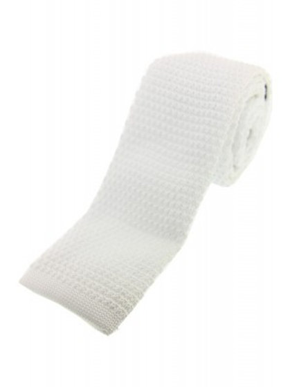White Knitted Classic Tie