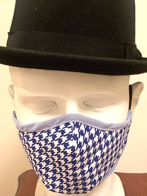 Face Mask : White / Blue Dogtooth