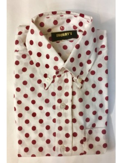 Sherrys Lightweight l/S Shirt White/Burgundy Polka Dot