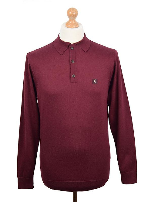 Gabicci long sleeve polo shirt - burgundy