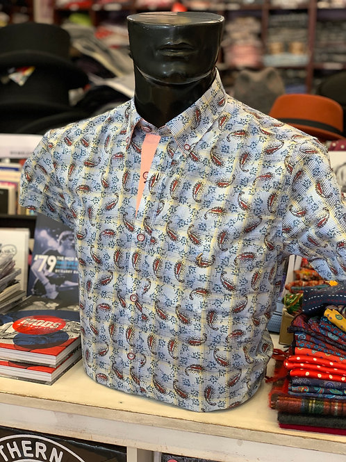 Gabicci Short Sleeved Paisley Shirt - Cologne