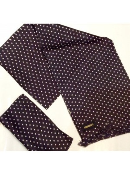 Sherrys Pure Silk POCKET SQUARE Black/White Polka Dot
