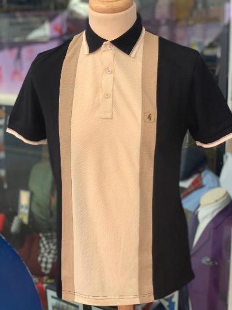 Gabicci 'Glover' Pique Polo Shirt - Black and Sand