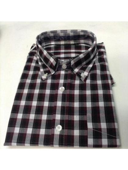 Sherrys Classic Button Down Check Shirt - Burgundy / Black