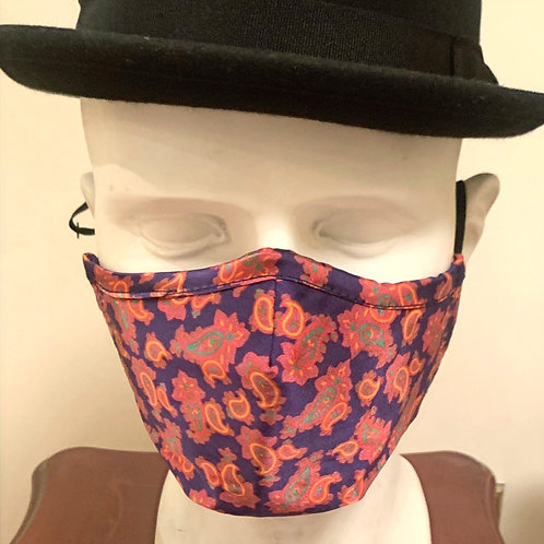 Face Mask : Purple / Coral Paisley