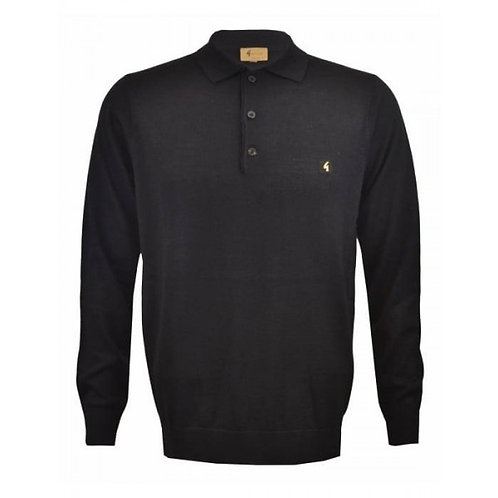Black Gabicci Long Sleeve Knitted Polo
