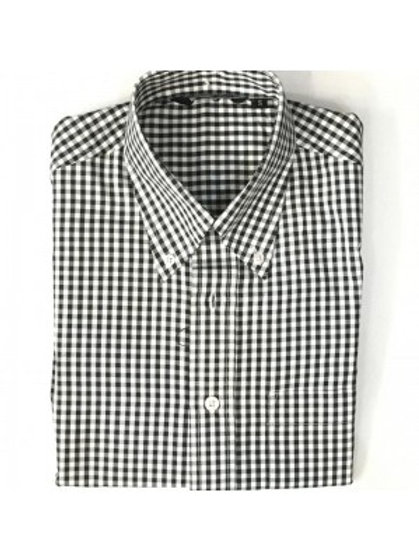 Classic Short Sleeve Gingham Shirt - Black