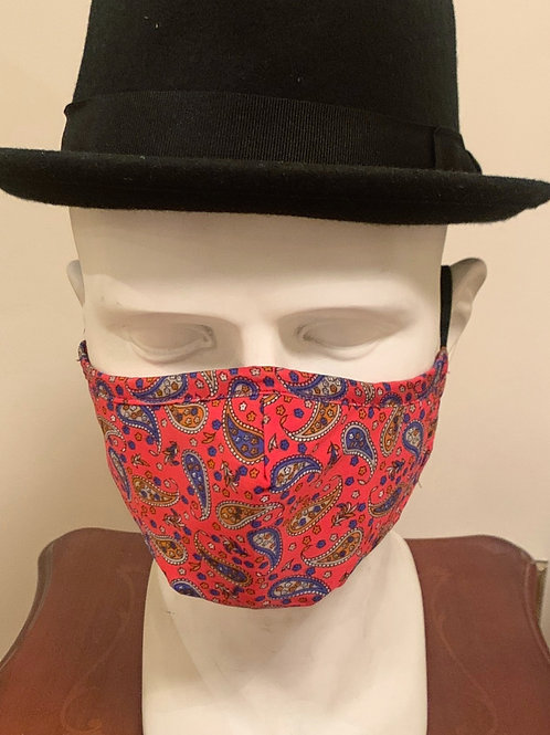 Face Mask : Coral / Navy / Brown Paisley