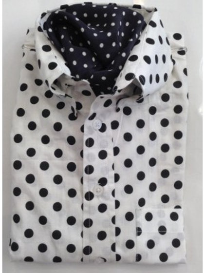 Sherrys Light Weight L/S Shirt - Large Polka Dots White/Black