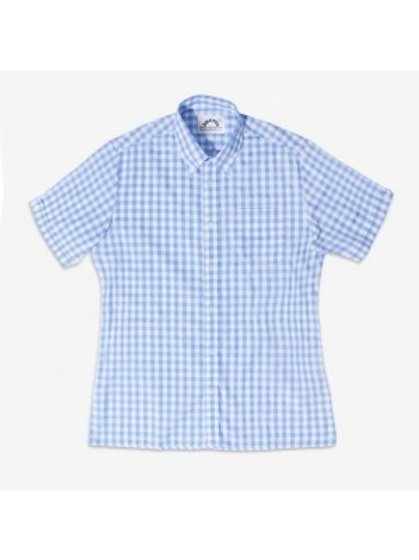 Brutus Trimfit Shirt - 'Large Gingham Check' Sky Colour