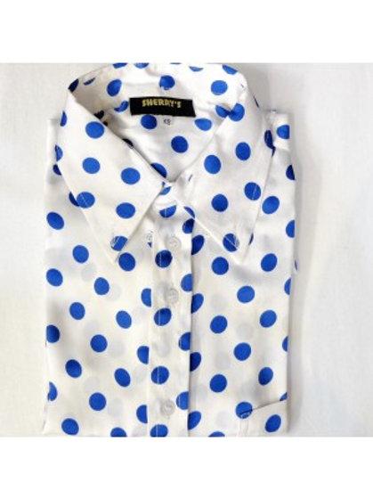シェリーズオリジナルホワイト/ブルーポルカドットシャツ