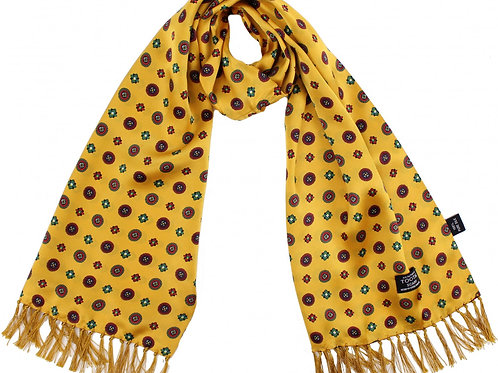 Tootal 100% Silk Scarf - Gold/Red