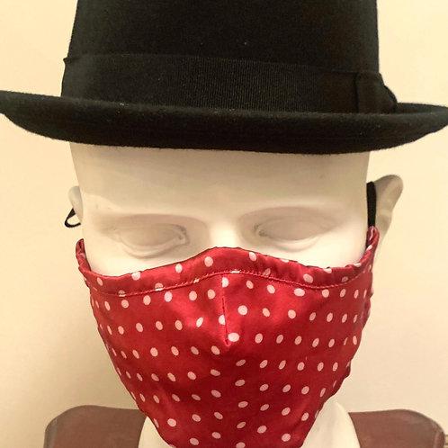 Face Mask : Red / White Polka Dot