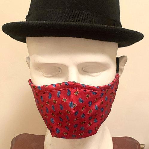 Face Mask : Red / Navy / Orange Paisley