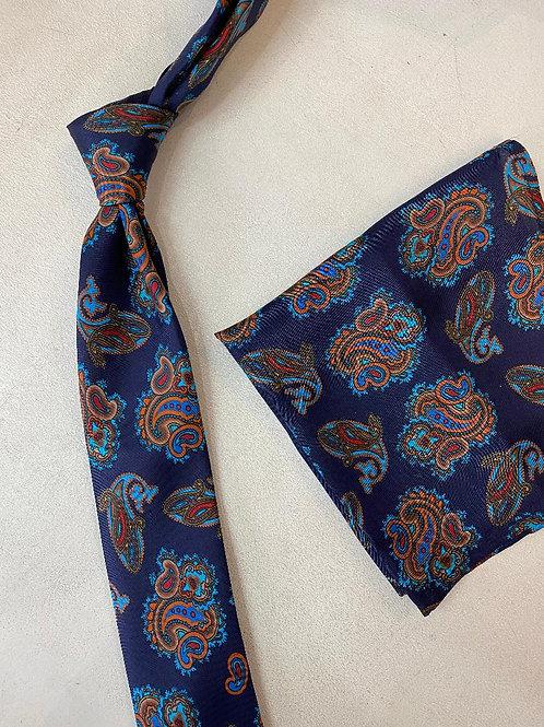 Tie and Pocket Square Set - royal blue/teal/orange