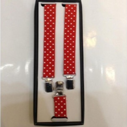 Braces Clip on Polka Dot RED