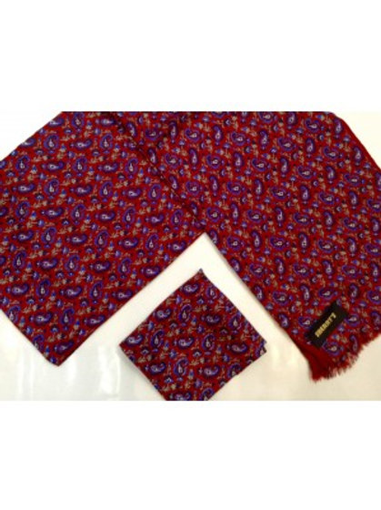 Sherrys Pure Silk POCKET SQUARE Red/Blue Paisley