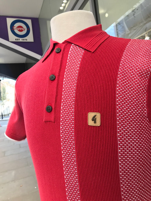 Gabicci Short Sleeved Polo - Red with White Tracks