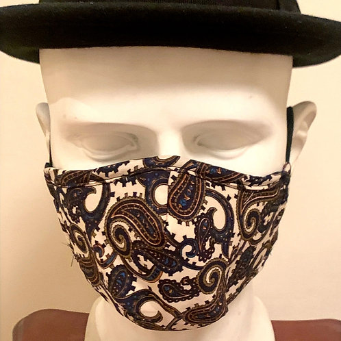 Face Mask : Beige /Navy / Green Paisley