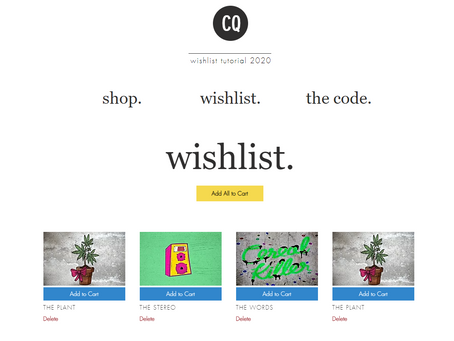 Creating a Wishlist using Wix Stores with add to cart function