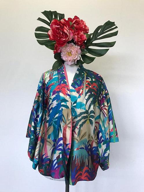 Kimono Kyoto curto fascino fundo salmão
