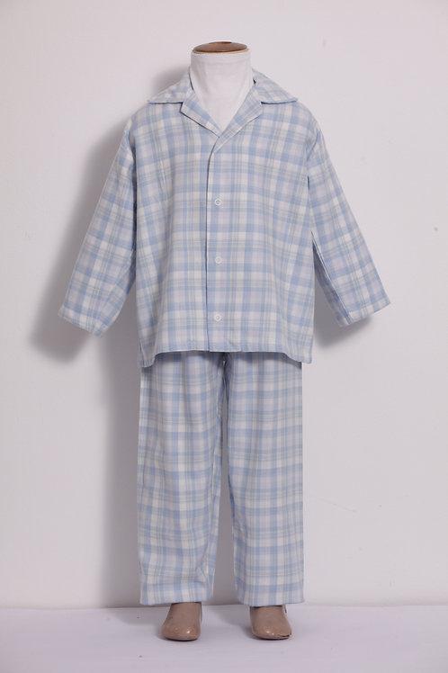 Pijama Infantil Flanela Xadrez Azul Claro