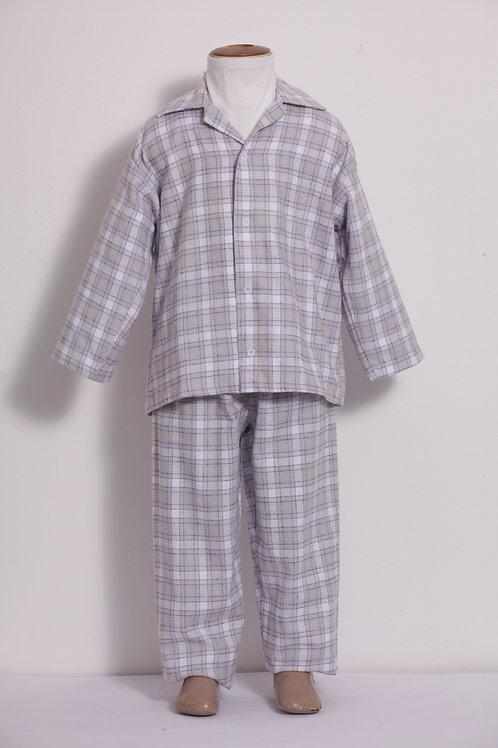 Pijama Infantil Flanela quadriculado lilás e cinza