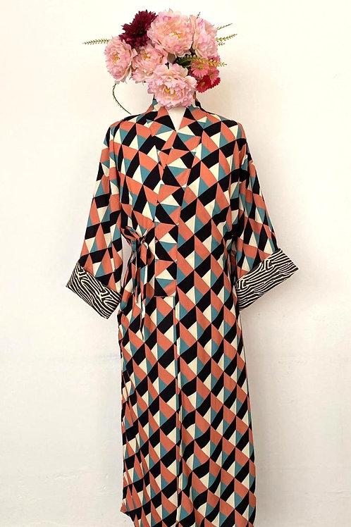 kimono Tokyo longo geométrico