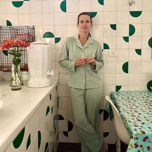 Pijama Plush Verde Água