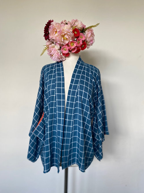Kimono Kyoto quadriculado azul