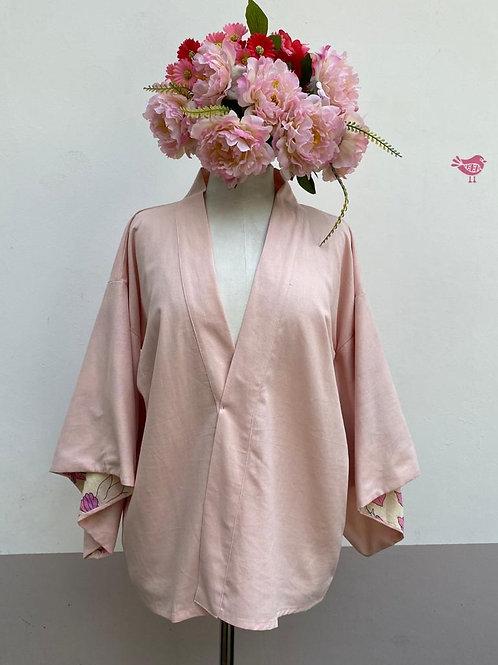 Kimono Kyoto curto linho Rosa Nude.