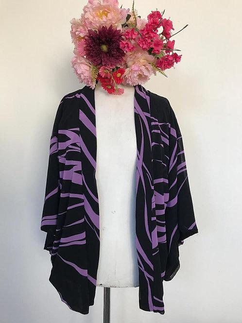Kimono kyoto curto preto e roxo Tigre