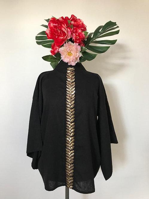 Kimono Kyoto curto linho preto barbatanas