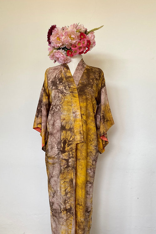 Kimono Kyoto tie dye marrom e amarelo