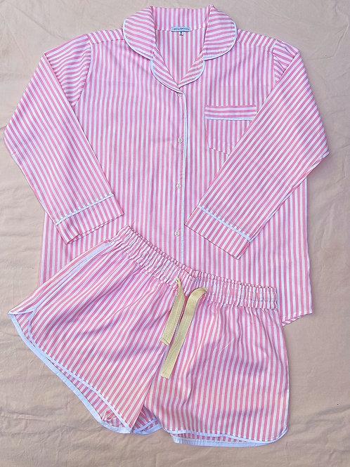 Pijama Zazá Listrado Rosa manga longa + short
