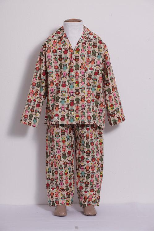 Pijama Infantil coruja fundo claro