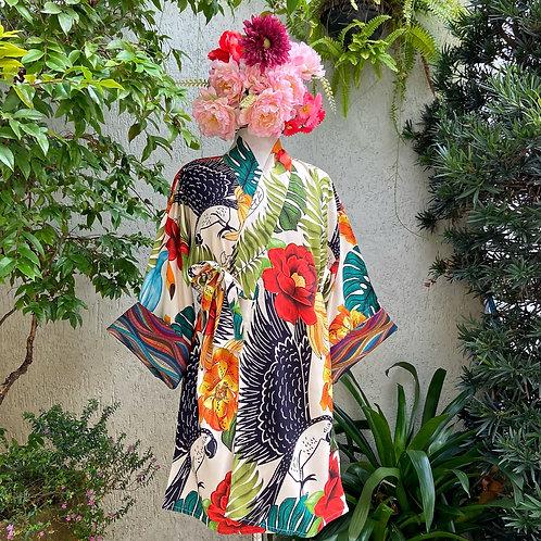 Kimono Tokyo médio Arara Preta Fundo Off White