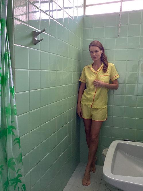 Pijama Zazá algodão com seda Amarelo
