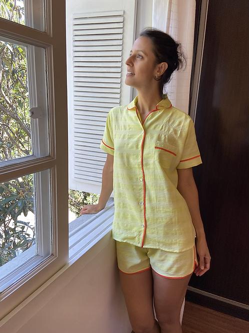 Pijama Zazá listrado amarelo