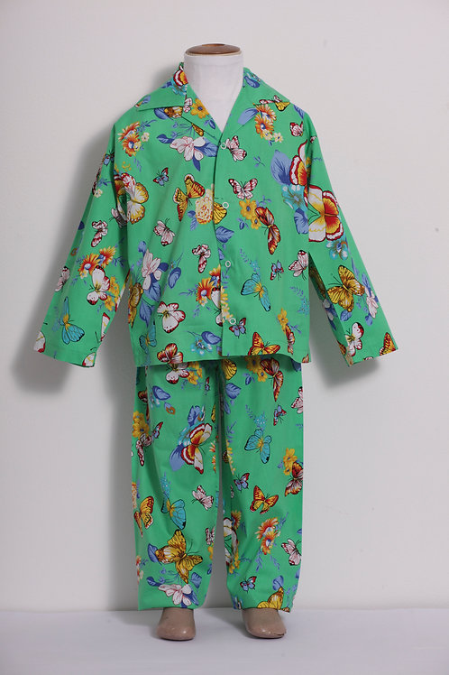 Pijama Infantil Borboletas Fundo Verde